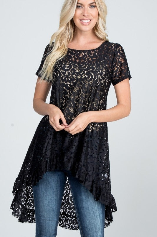 HIGH LOW LACE TOP