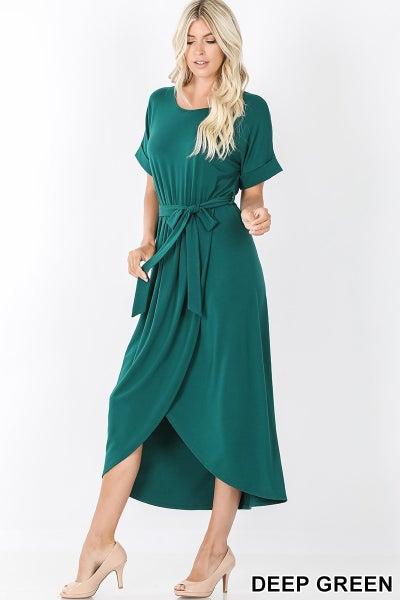Deep green tie dress