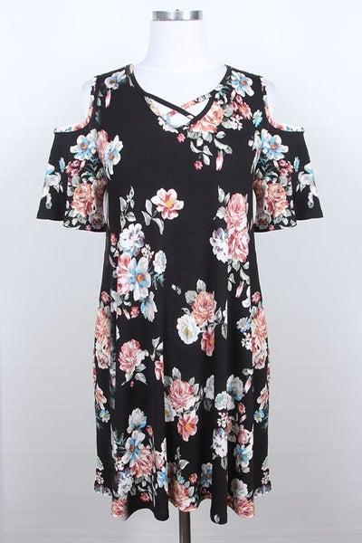 Black floral cold shoulder dress