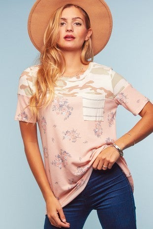 Peach floral and camo top