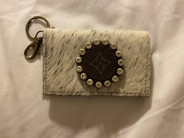 Upcycled Designer White Animal Card Wallet