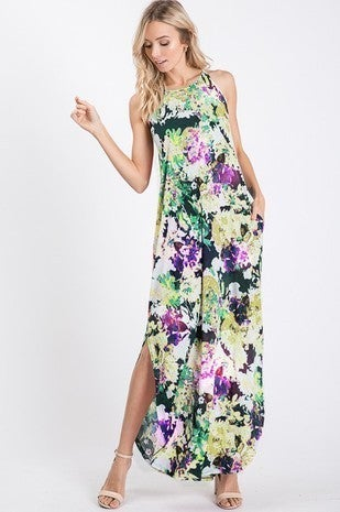 Lime multi floral maxi dress