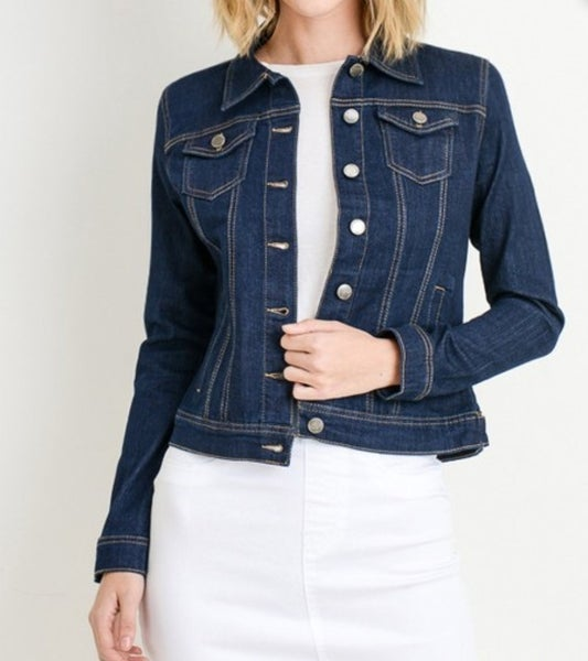 Plus Super Dark Denim Jacket