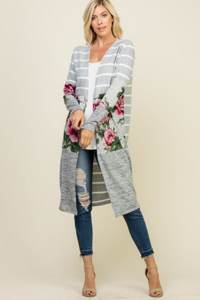 Grey and Floral Colorblock Cardigan