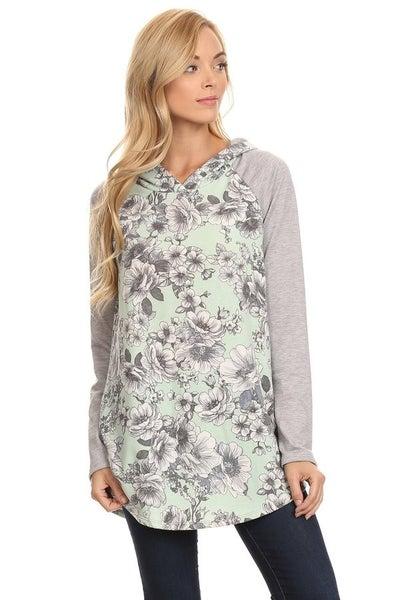 Mint & grey floral hoodie
