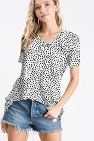 Ivory animal print V neck top