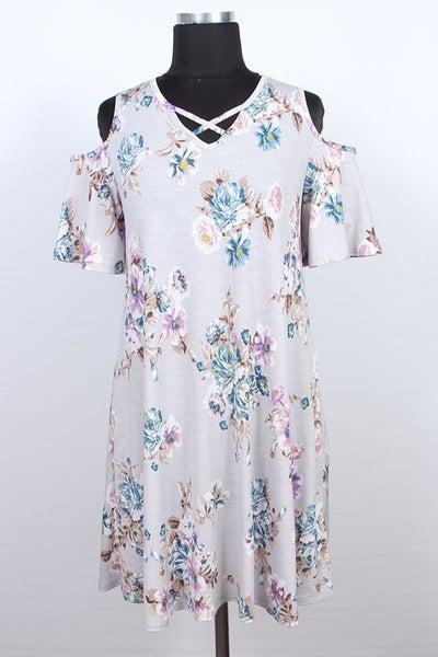 Grey floral cold shoulder dress