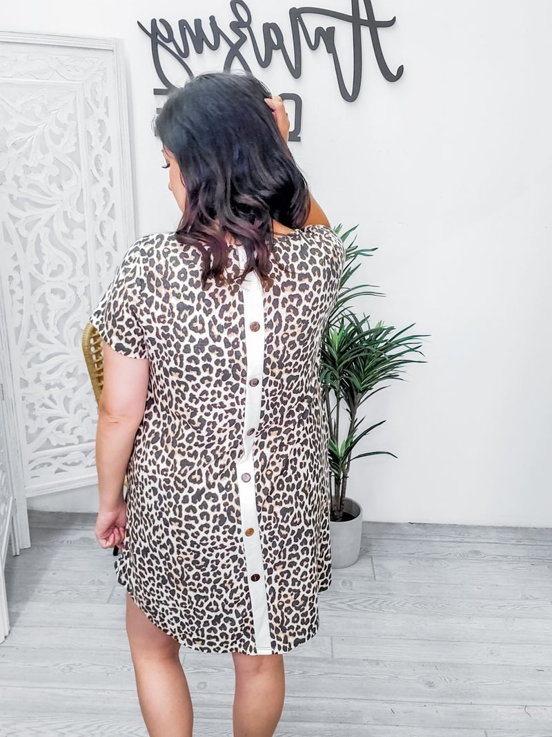 Animal print dress with lace back detail