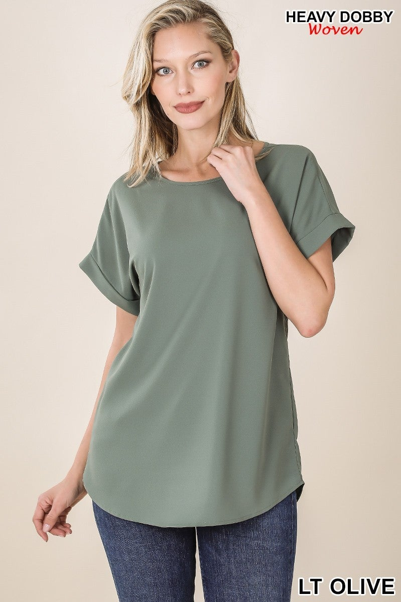 Rolled Sleeve Boat Neck Top