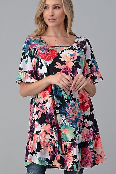 Multi floral top with ruffle sleeve