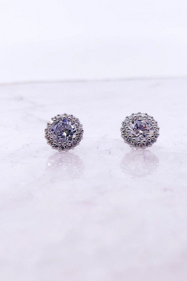 CZ Stone Earrings (ROUND)
