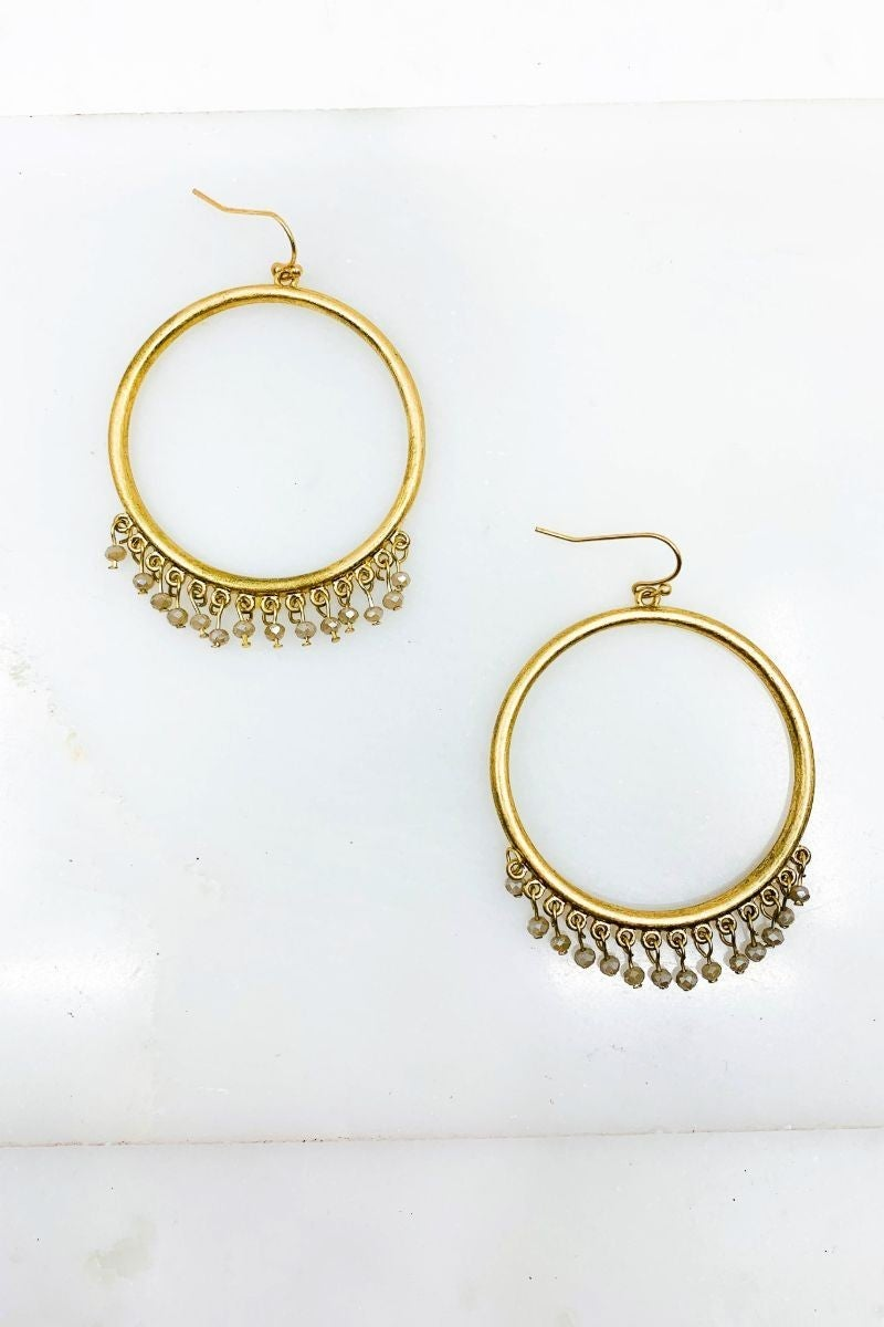 Hoop Drop Earrings with Glass Beads