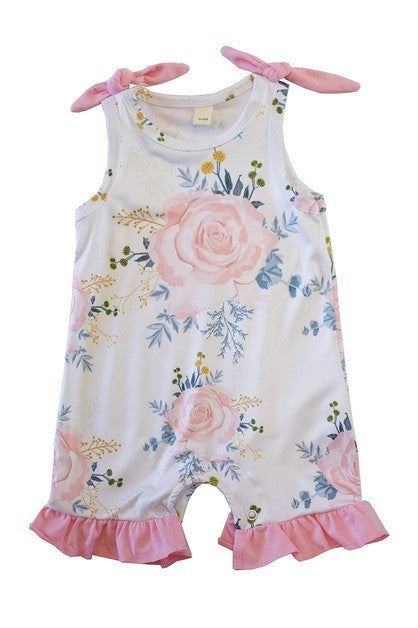 Ivory floral baby romper with tie sleeve