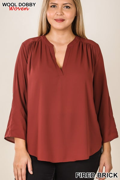 Woven Blouse roll up sleeve with button detail