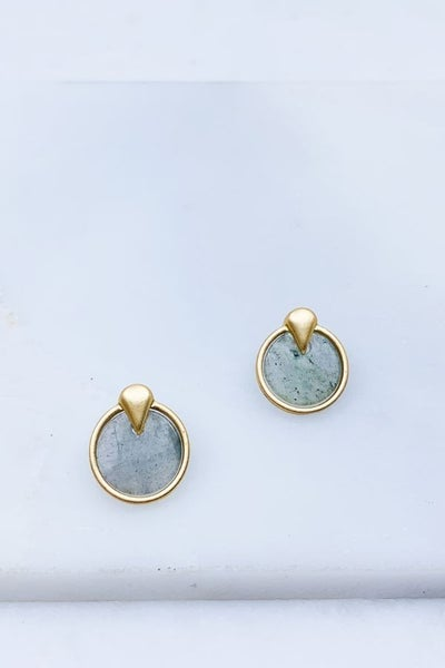 Matte Plated Stone Earring