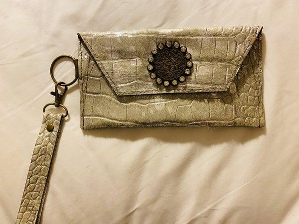 Upcycled Designer Silver Snake Wristlet