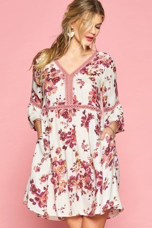 Floral Print Dress with Crochet detail