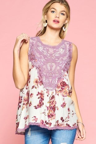 Ivory floral top with purple crochet detail