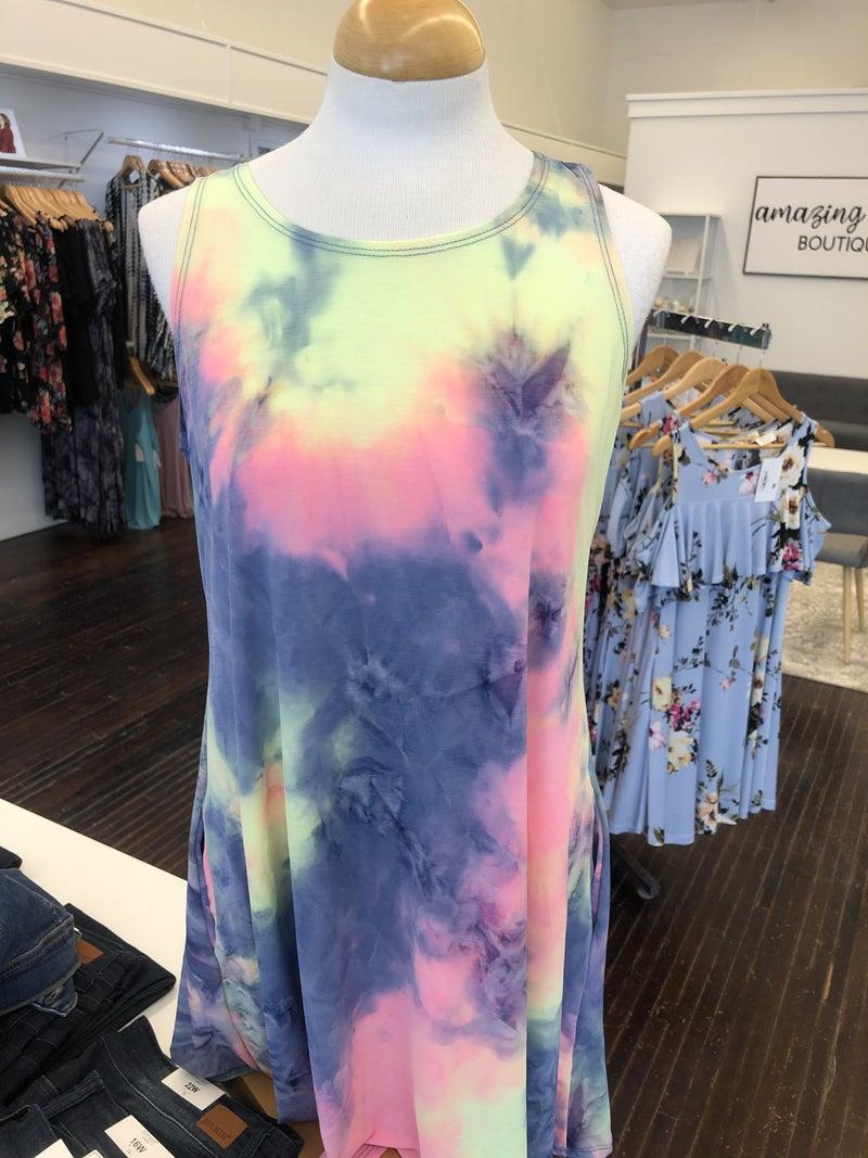 Multi tye dye tank dress