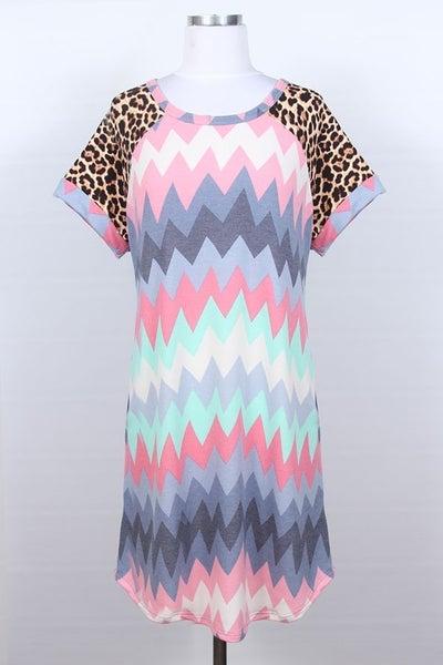 Chevron and animal print T-shirt dress