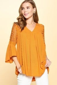 Caramel top with sheer sleeves