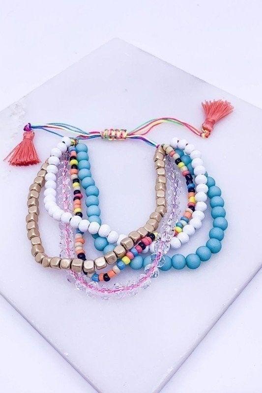 Multi Strand beaded tassle bracelet
