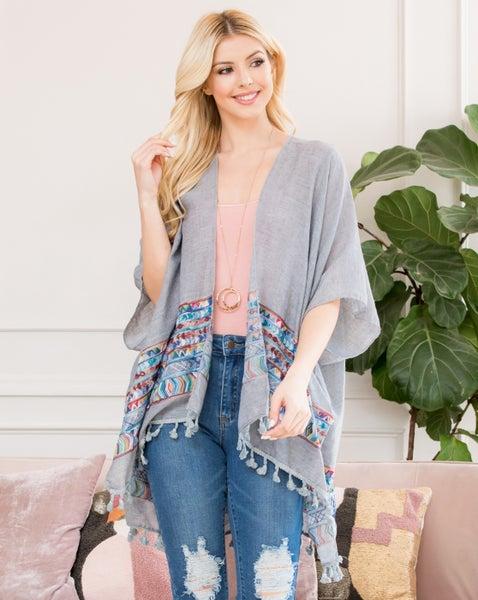Grey Tassle Kimono