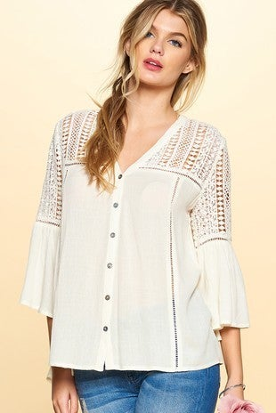 Botton down top with crochet detail