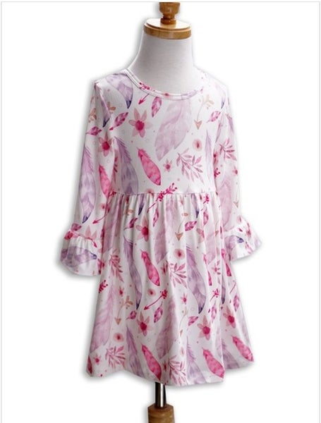 Feather & Leaf White Bell Sleeve Girls Dress