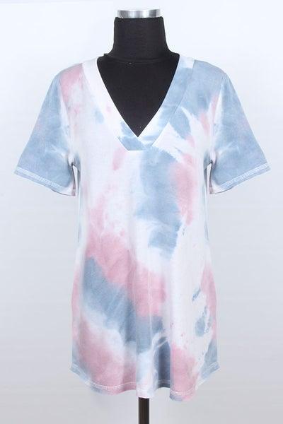 Blue & Pink Tye Dye V-neck