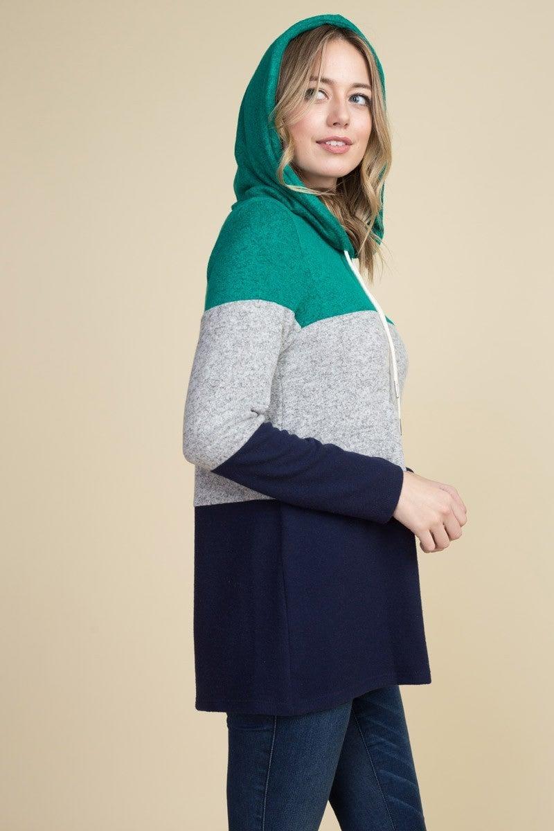 Teal color block hoodie