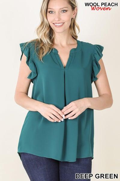Woven Wool Peach Ruffled Sleeve Top-Deep Green