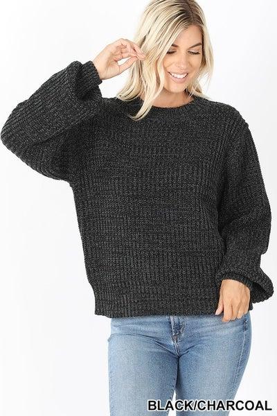Black & Charcoal Melange Sweater