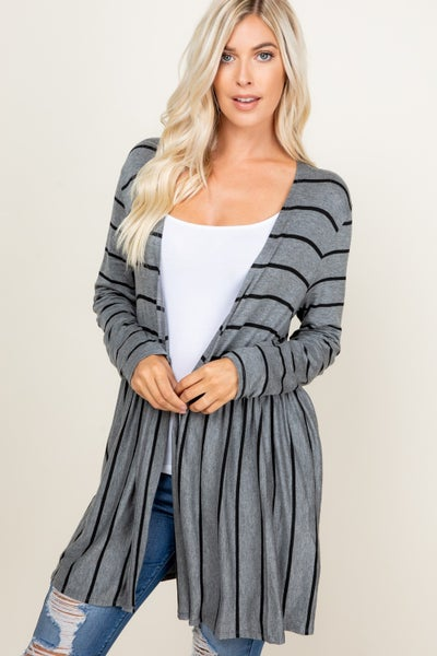 Charcoal Striped Crinkle Cardigan