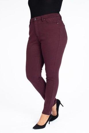 Kancan Jeans Raven Burgundy High Rise Skinny Jeans