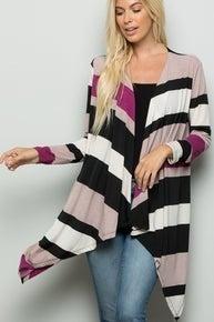 Striped asymmetrical cardigan