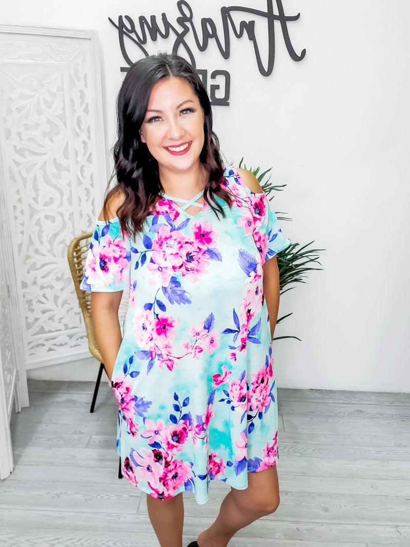 mint floral cold shoulder dress