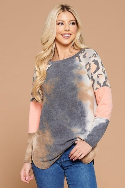 Peach Leopard Color Block Top