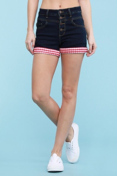 Judy Blue Red Gingham Cuff Shorts