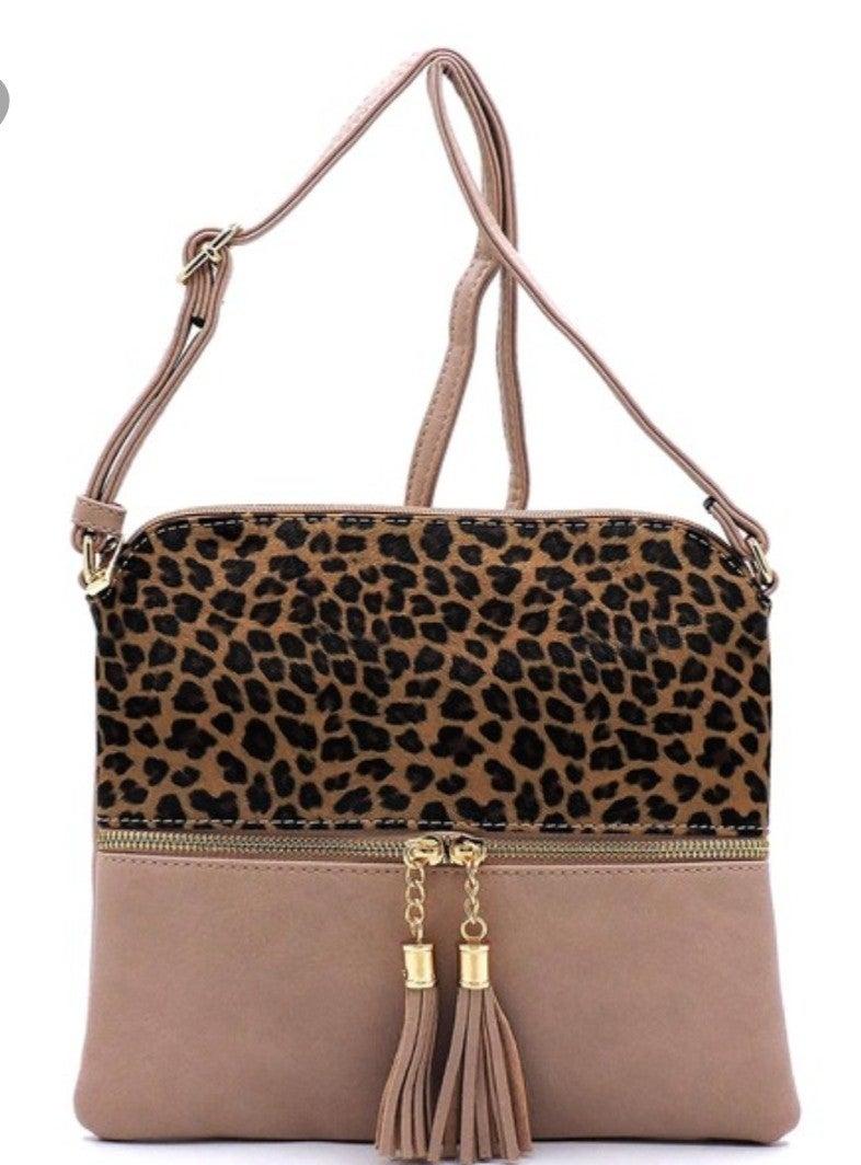 Leopard colorblock zipped crossbody