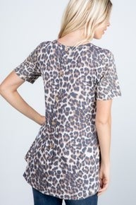 Animal print top with button detail