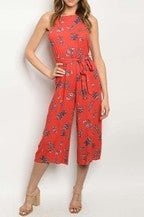Coral floral jumpsuit with belt