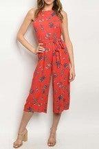 Coral floral jumpsuit with belt