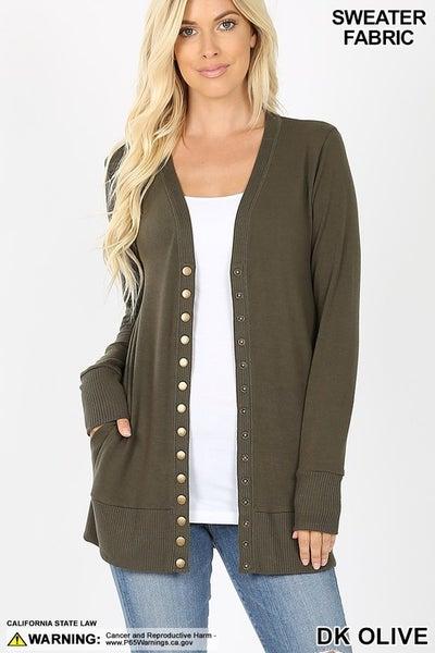 Snap Button Sweater Cardigan