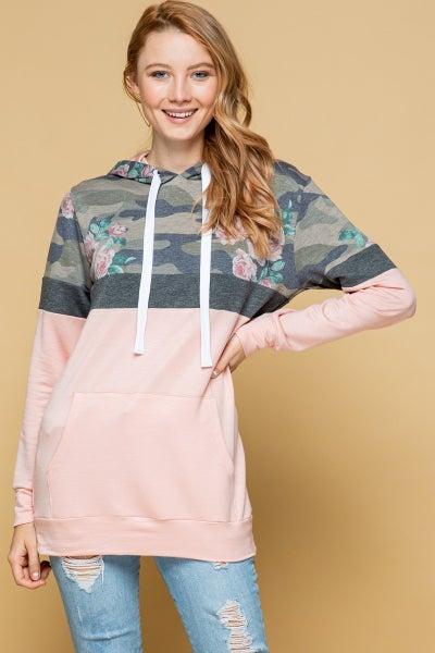 Camo color block hoodie