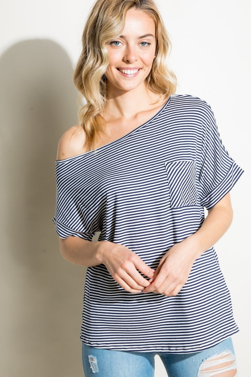 PIN STRIPE SHORT SLEEVE OFF THE SHOULDER BOXY TOP