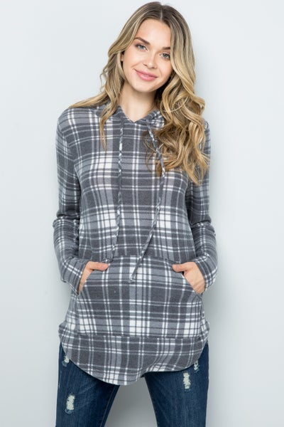 Brushed Knit Plaid Hoodie
