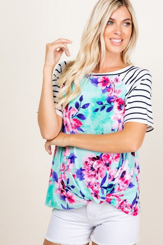 mint floral knot tee