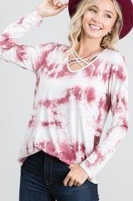 Burgundy tie dye Criss Cross Long sleeve top