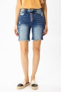 Kan Can 5 button distressed brumuda shorts